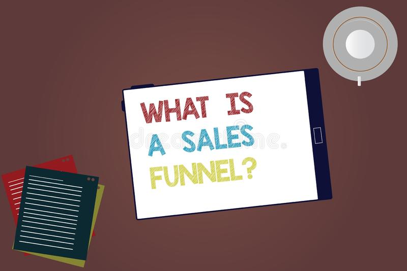 Texto da escrita da palavra o que é vendas Funnelquestion Conceito do negócio para Explain uma tabuleta de anúncio de mercado do  ilustração stock