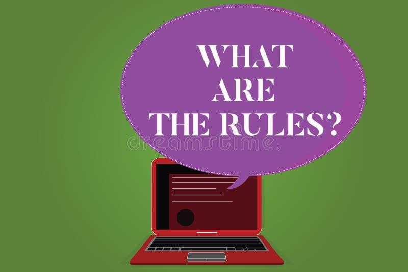 Texto da escrita da palavra o que são o Rulesquestion Conceito do negócio para estabelecido os regulamentos antes de começar qual ilustração stock