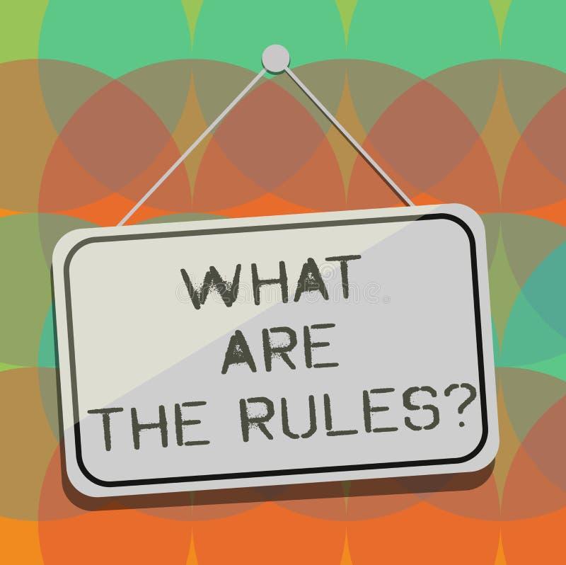 Texto da escrita da palavra o que são o Rulesquestion Conceito do negócio para estabelecido os regulamentos antes de começar qual ilustração royalty free