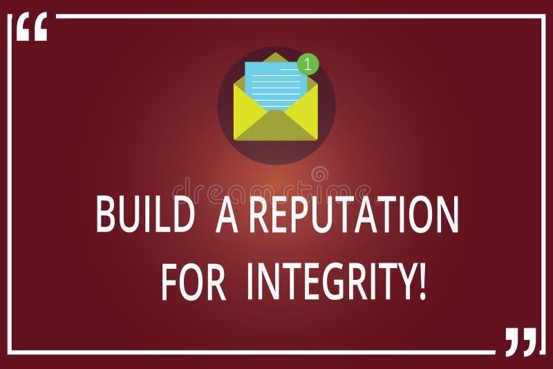 Texto da escrita da palavra para construir uma reputação para a integridade Conceito do negócio para o bom feedback Obtain basead fotografia de stock