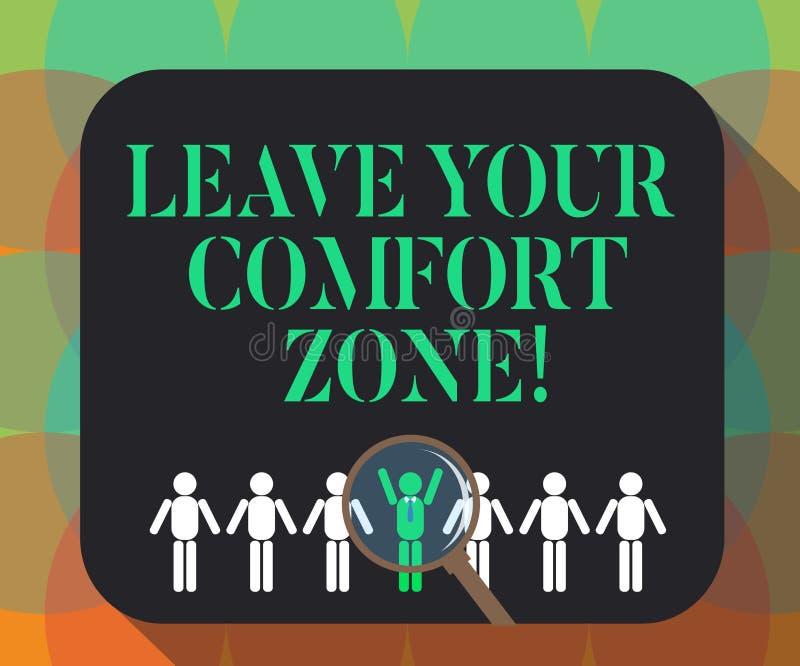 Texto da escrita da palavra para sair de sua zona de conforto Conceito do negócio para Make mudanças evoluir para crescer para to ilustração stock