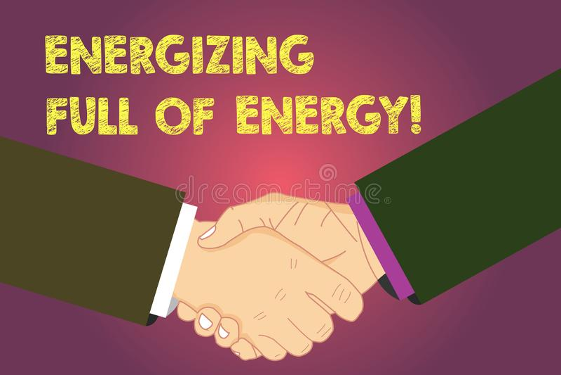 Texto da escrita da palavra que energiza completamente da energia O conceito do negócio para focalizado energizado completamente  ilustração stock