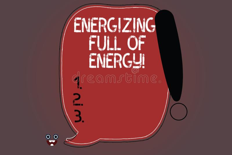 Texto da escrita da palavra que energiza completamente da energia O conceito do negócio para focalizado energizado completamente  ilustração royalty free