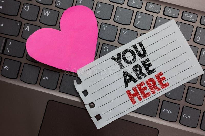 Texto da escrita da palavra você está aqui O conceito do negócio para este é seu computador de cinza do sistema de navegação mund foto de stock