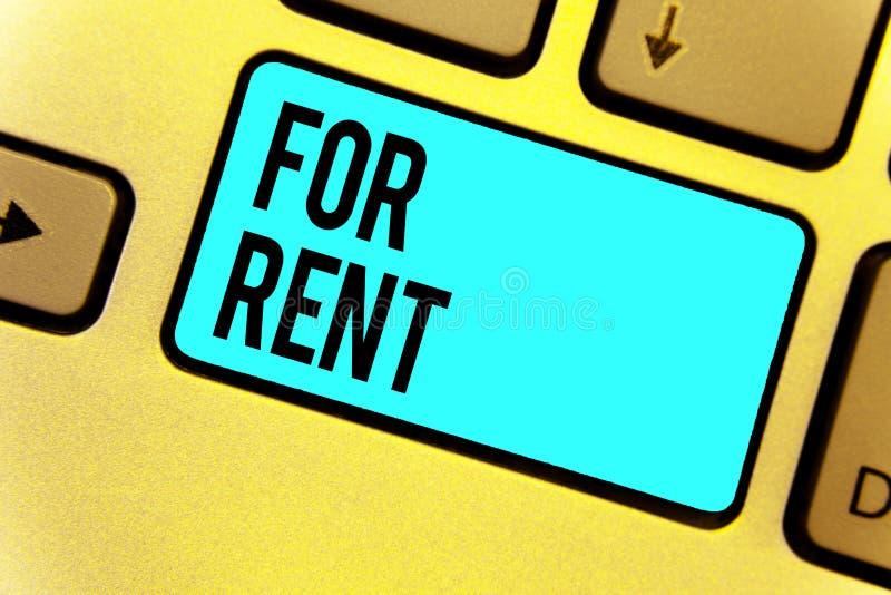 Texto da escrita para o aluguel Significado do conceito quando você fizer a propriedade disponível para comprar temporariamente a fotos de stock royalty free