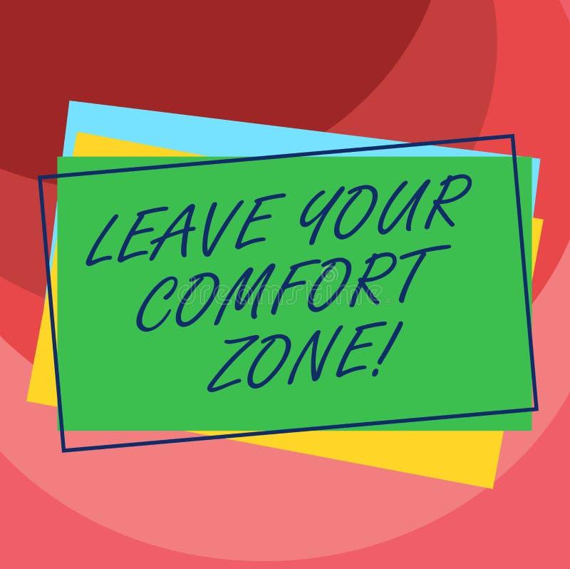 Texto da escrita para sair de sua zona de conforto O significado do conceito faz mudanças evoluir para crescer para tomar a pilha ilustração royalty free