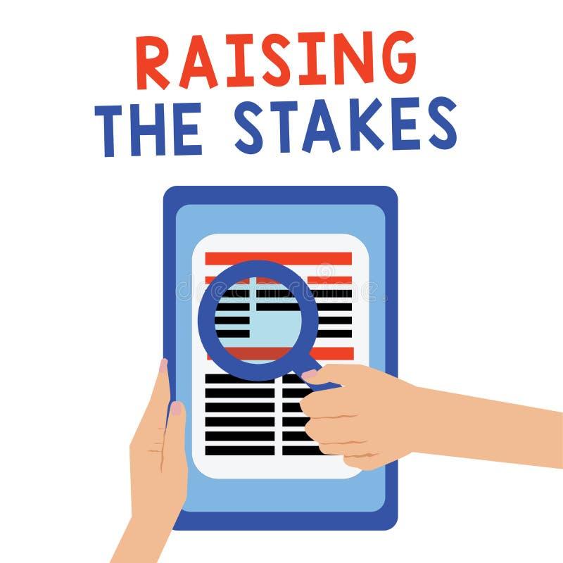 Texto da escrita que aumenta as estacas O aumento do significado do conceito a oferta ou o valor excede a aposta ou o risco da co fotografia de stock