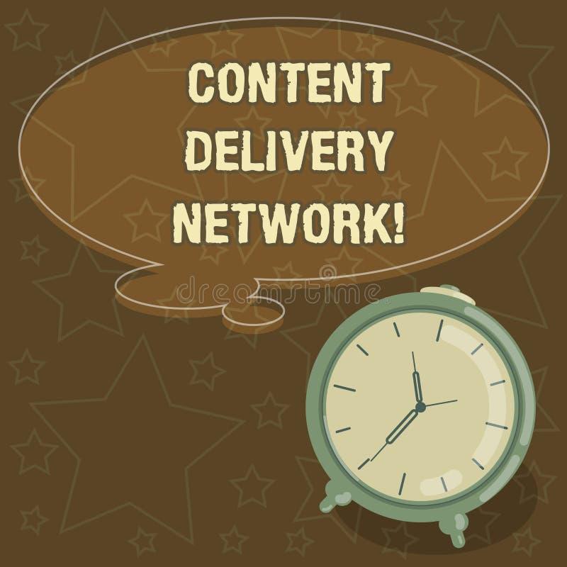 Texto da escrita que escreve Content Delivery Network O conceito que significa geograficamente dispersou a rede dos servidores pr ilustração stock