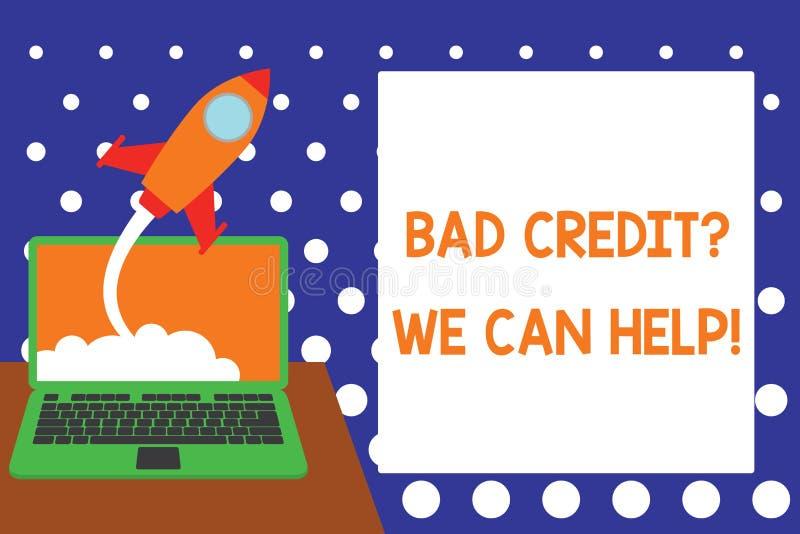 Texto da escrita que escreve Creditquestion que mau n?s podemos ajudar Conceito que significa a ajuda do offerr ganhar a história ilustração stock