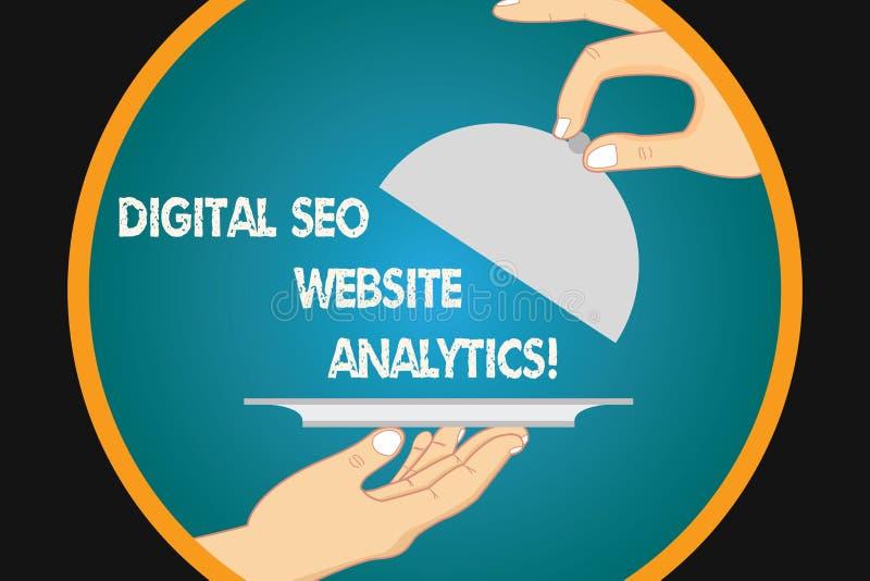 Texto da escrita que escreve Digitas Seo Website Analytics Estratégia em linha Hu da otimização do Search Engine do significado d ilustração do vetor