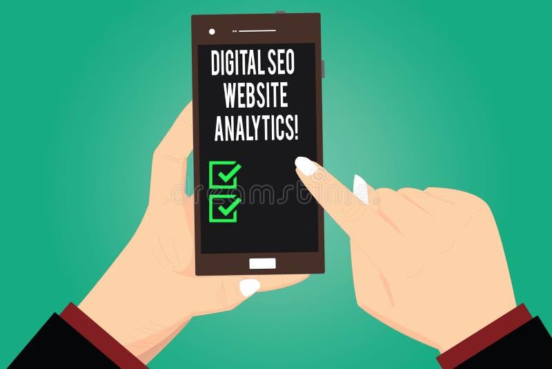 Texto da escrita que escreve Digitas Seo Website Analytics Estratégia em linha Hu da otimização do Search Engine do significado d ilustração royalty free