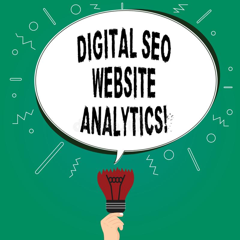 Texto da escrita que escreve Digitas Seo Website Analytics Placa em linha da estratégia da otimização do Search Engine do signifi ilustração stock