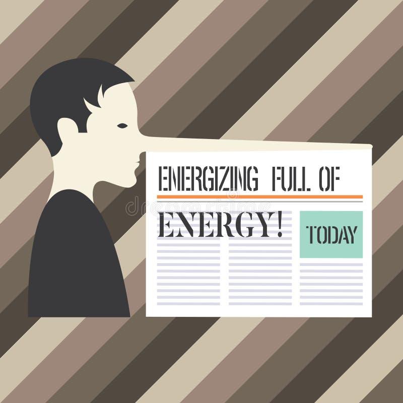 Texto da escrita que escreve a energização completa da energia Completo energizado focalizado significado do conceito do homem mo ilustração do vetor