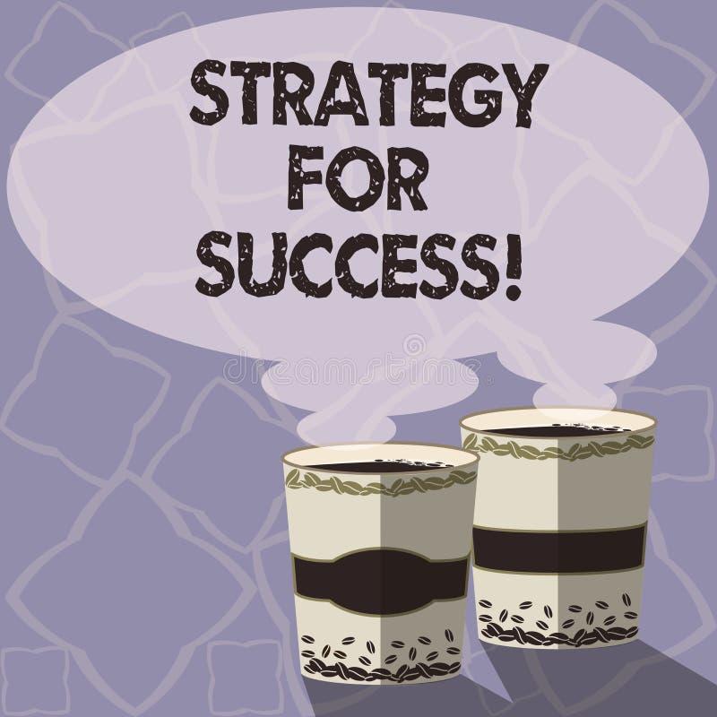 Texto da escrita que escreve a estratégia para o sucesso Plano do significado do conceito seguir para encontrar o desafio e para  ilustração do vetor