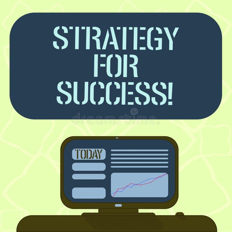 Texto da escrita que escreve a estratégia para o sucesso Plano do significado do conceito seguir para encontrar o desafio e a vit ilustração stock