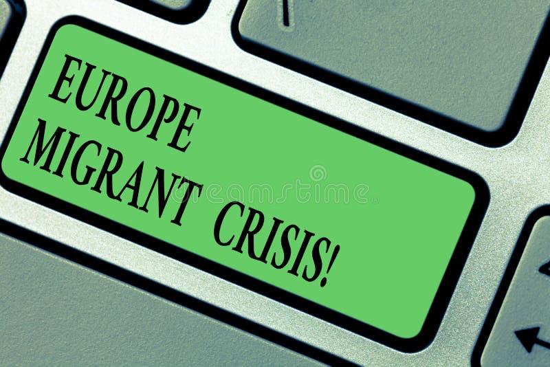 Texto da escrita que escreve a Europa a crise emigrante Crise europeia do refugiado do significado do conceito de um período que  fotos de stock royalty free