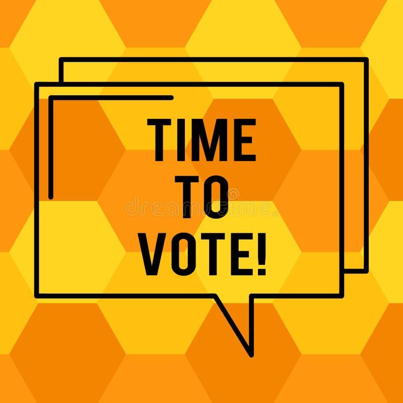Texto da escrita que escreve a hora de votar A eleição do significado do conceito adiante escolhe entre alguns candidatos governa ilustração stock