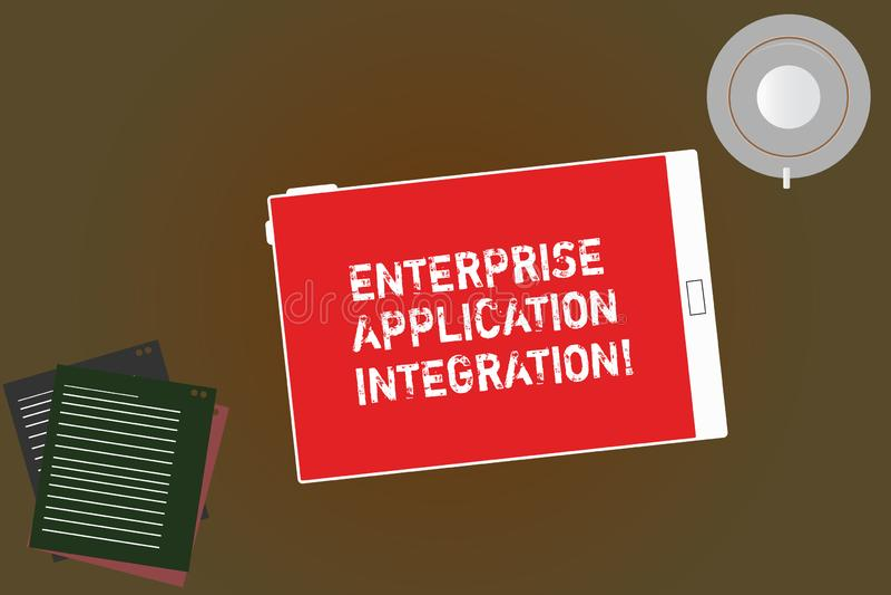 Texto da escrita que escreve a integração da aplicação da empresa Tabuleta de conexão das aplicações da empresa do significado do ilustração do vetor