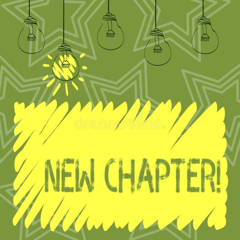 Texto da escrita que escreve o capítulo novo Significado do conceito que começa finalmente algo objetivos criados em sua forma de ilustração stock