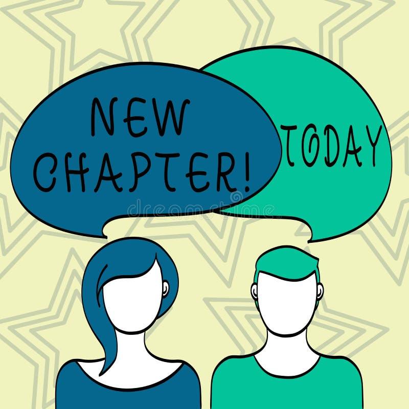 Texto da escrita que escreve o capítulo novo Significado do conceito que começa finalmente algo objetivos criados em sua placa da ilustração stock