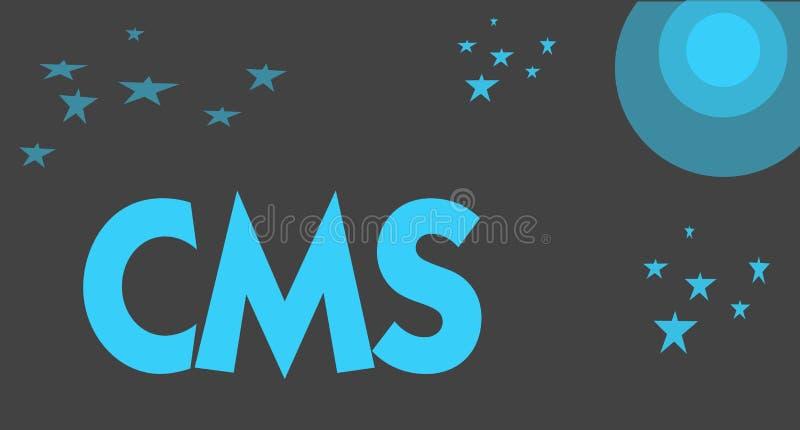 Texto da escrita que escreve o Cms O significado do conceito controla a criação e a reforma da aplicação de software do conteúdo  ilustração do vetor