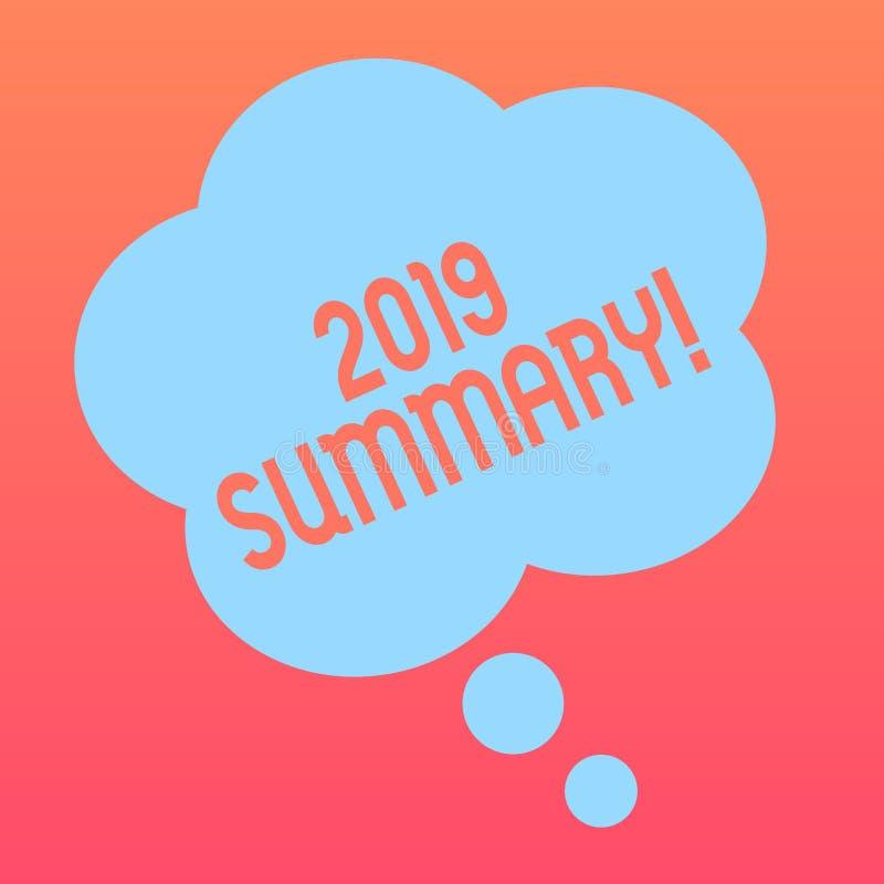 Texto da escrita que escreve o sumário 2019 Significado do conceito que resume ações principais dos eventos passados do ano ou a  ilustração stock