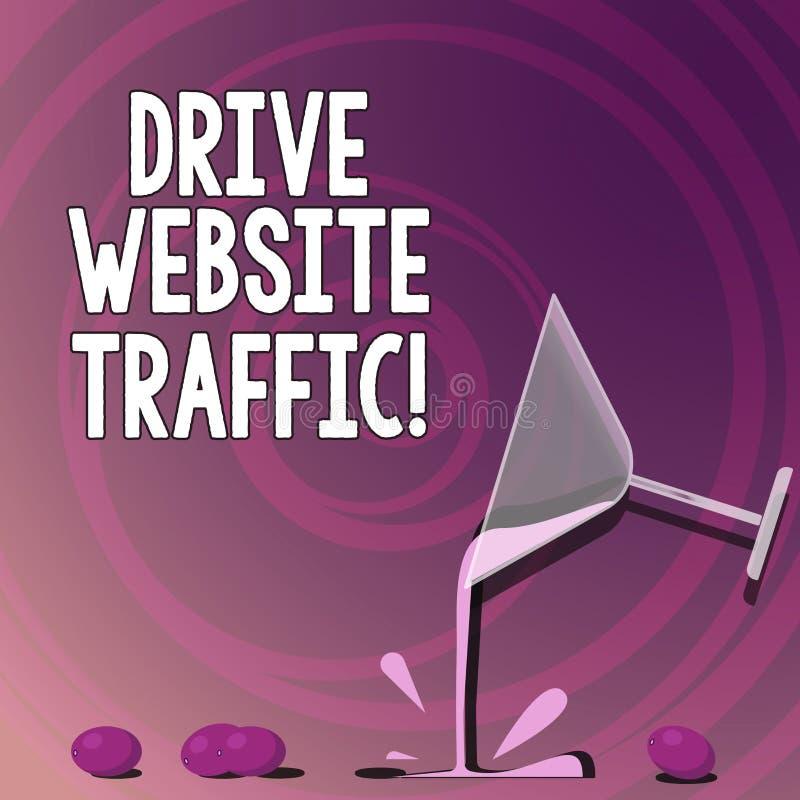 Texto da escrita que escreve o tráfego do Web site da movimentação O significado do conceito aumenta o número de visitantes ao vi ilustração stock