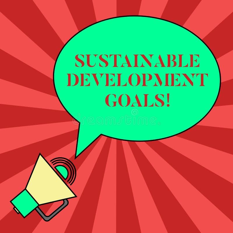 Texto da escrita que escreve objetivos do desenvolvimento sustentável O significado do conceito une a visão global das nações par ilustração royalty free