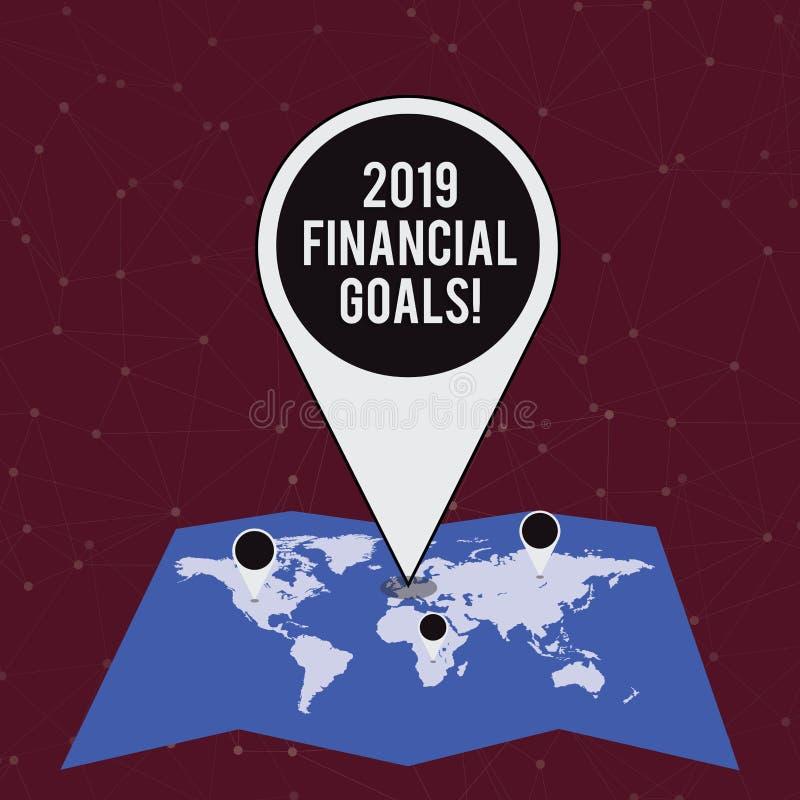 Texto da escrita que escreve 2019 objetivos financeiros Estratégia empresarial nova do significado do conceito para ganhar a mais ilustração royalty free