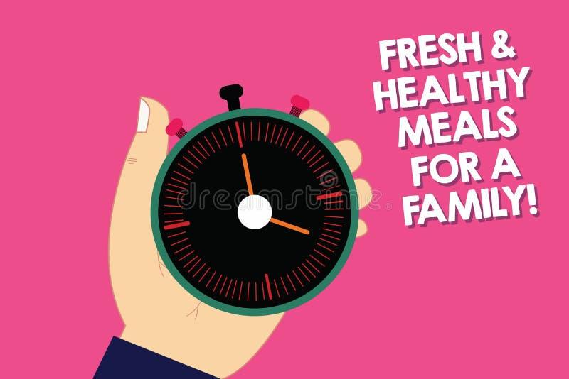 Texto da escrita que escreve refeições frescas e saudáveis para uma família Nutrição do significado do conceito boa que toma da s ilustração royalty free