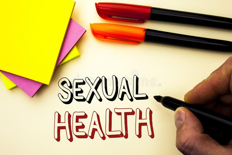 Texto da escrita que escreve a saúde sexual Conceito que significa o cuidado saudável do sexo dos hábitos da proteção do uso da p imagem de stock