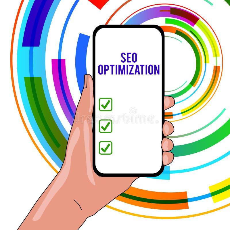 Texto da escrita que escreve Seo Optimization Processo do significado do conceito de afetar a visibilidade em linha do Web site o ilustração do vetor