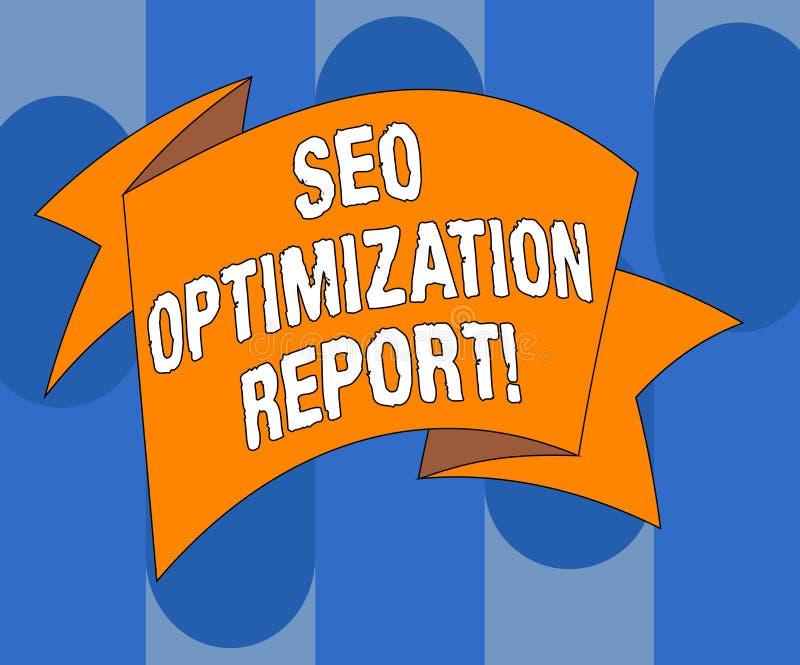 Texto da escrita que escreve Seo Optimization Report Vista geral do significado do conceito de um perforanalysisce do Web site na ilustração do vetor