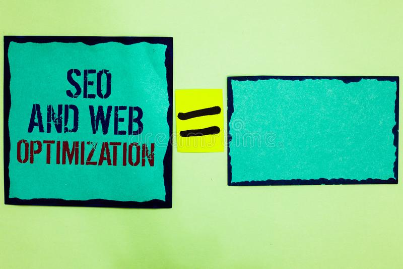 Texto da escrita que escreve Seo And Web Optimization O preto das estratégias de marketing de Keywording do Search Engine do sign fotos de stock royalty free