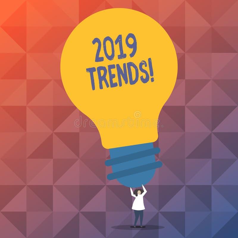 Texto da escrita que escreve 2019 tendências Conceito que significa o sentido geral em que algo se está tornando ou se está mudan ilustração stock