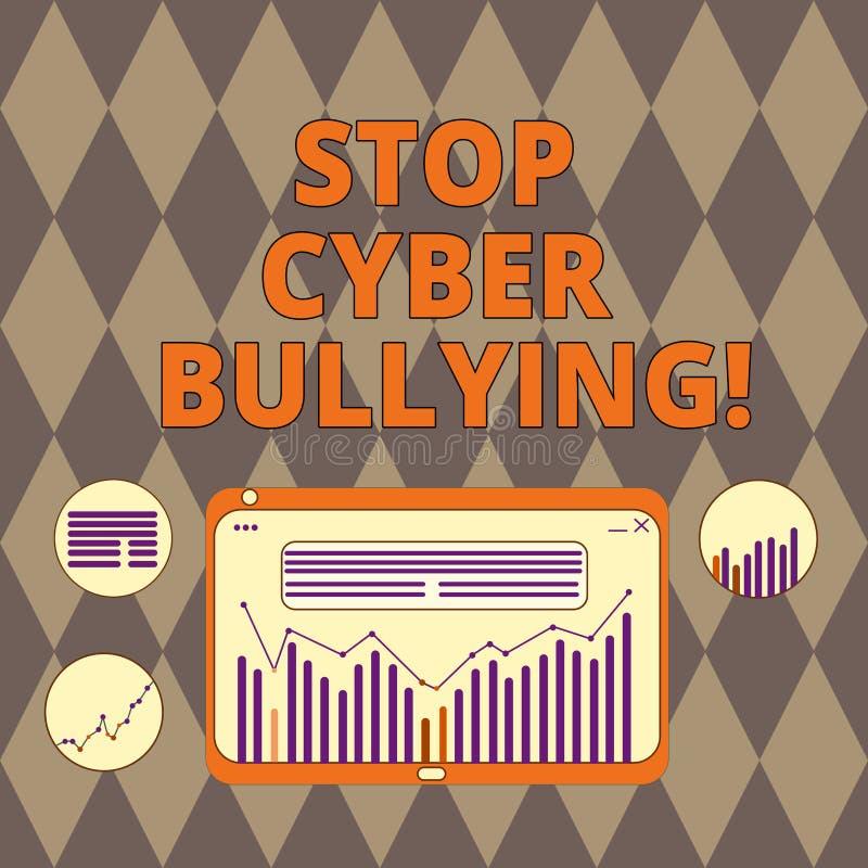 Texto da escrita que escreve tiranizar do Cyber da parada O significado do conceito impede o uso da intimidação de uma comunicaçã ilustração do vetor