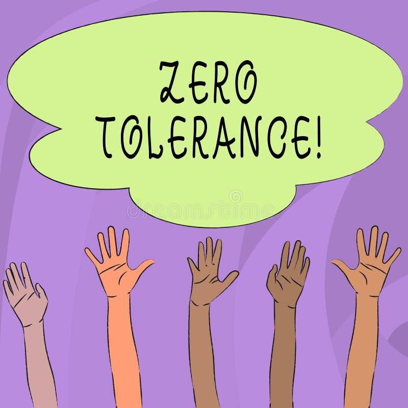 Texto da escrita que escreve a tolerância zero A recusa do significado do conceito aceita o comportamento antissocial tipicament ilustração royalty free