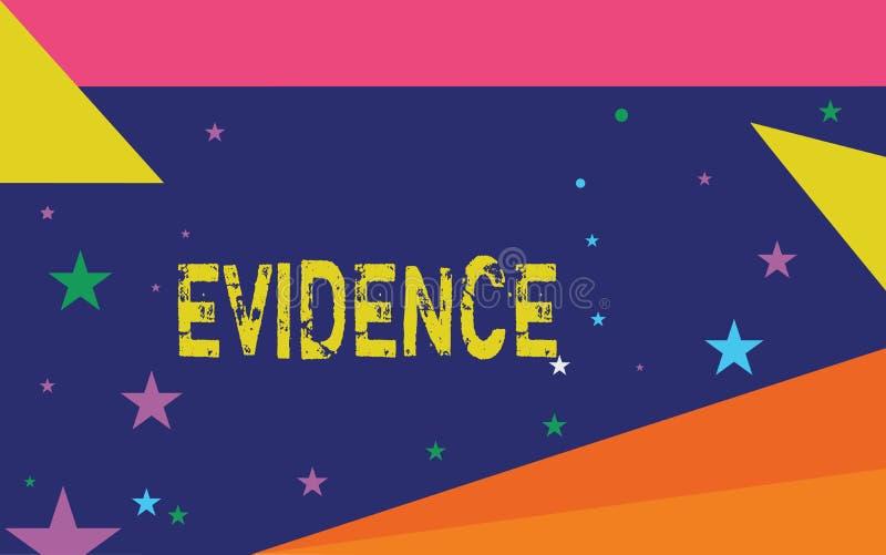 Texto da escrita que redige a evidência O conceito que significa os fatos disponíveis do corpo que indicam a opinião ou a proposi ilustração royalty free