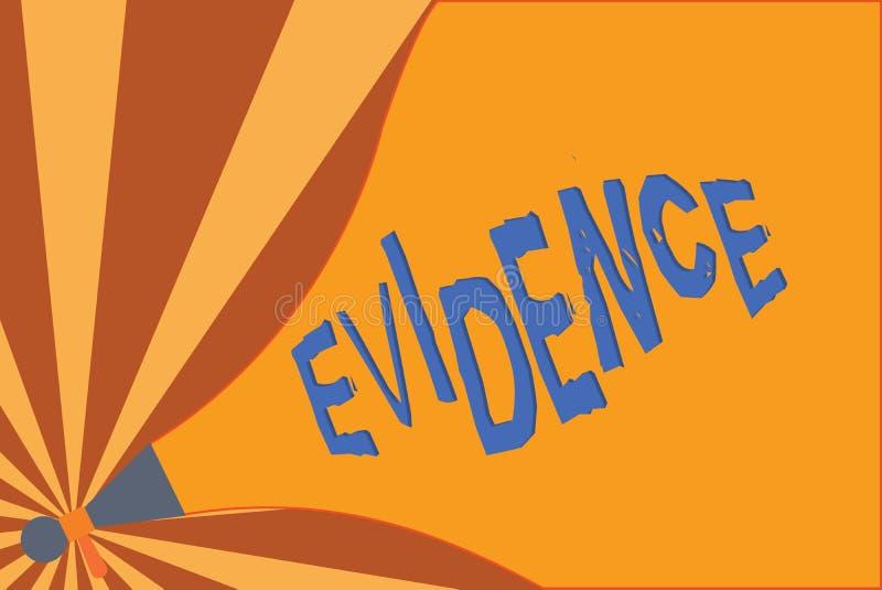 Texto da escrita que redige a evidência O conceito que significa os fatos disponíveis do corpo que indicam a opinião ou a proposi ilustração stock