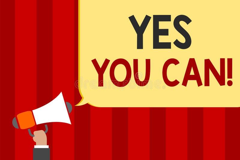 Texto da escrita sim você pode O incentivo da positividade do significado do conceito persuade a confiança do desafio confirma o  ilustração stock