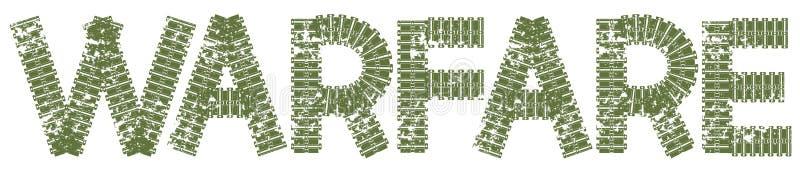 Texto da guerra com as letras feitas de trilhas do tanque ilustração royalty free