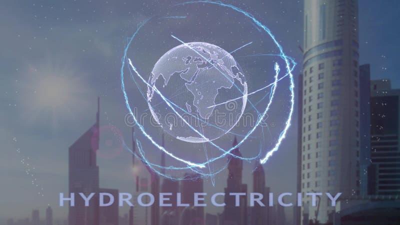 Texto da hidroeletricidade com holograma 3d da terra do planeta contra o contexto da metr?pole moderna ilustração royalty free