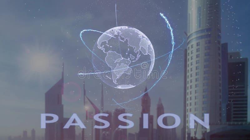 Texto da paix?o com holograma 3d da terra do planeta contra o contexto da metr?pole moderna imagem de stock