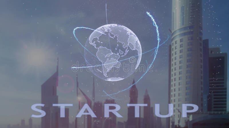 Texto da partida com holograma 3d da terra do planeta contra o contexto da metr?pole moderna ilustração stock