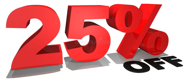 Texto da promoção de venda 25 por cento fora ilustração do vetor