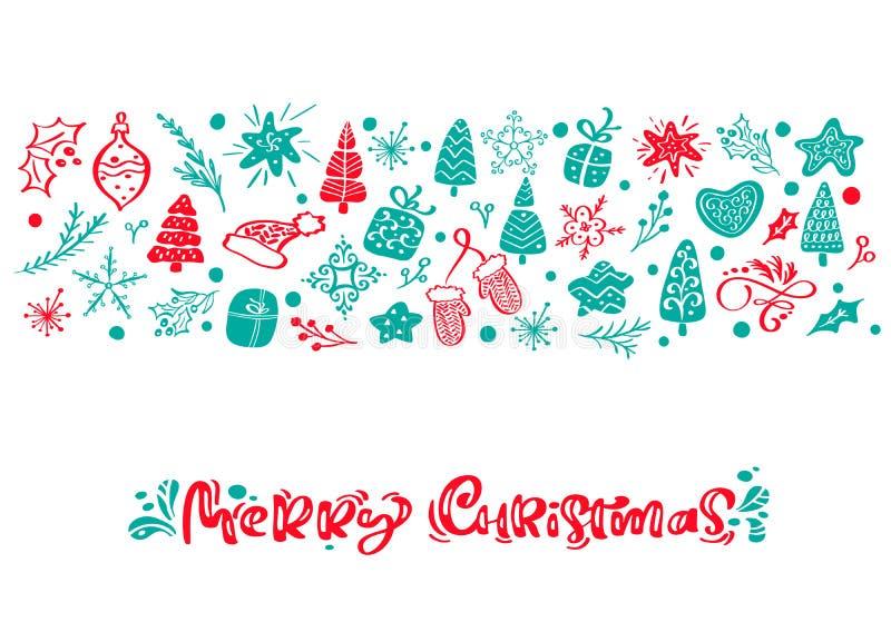 Texto da rotulação da caligrafia do vetor do Feliz Natal Cartão escandinavo do Xmas Ilustração tirada mão de um bonito ilustração do vetor
