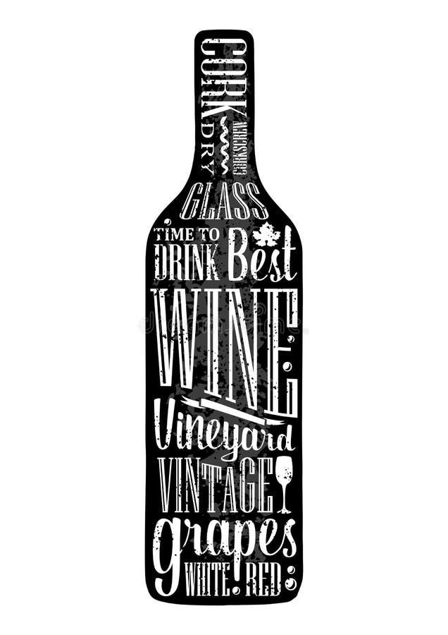 Texto da rotulação do cartaz da tipografia na garrafa de vinho da silhueta Ilustração da gravura do vetor do vintage Anunciando o ilustração do vetor