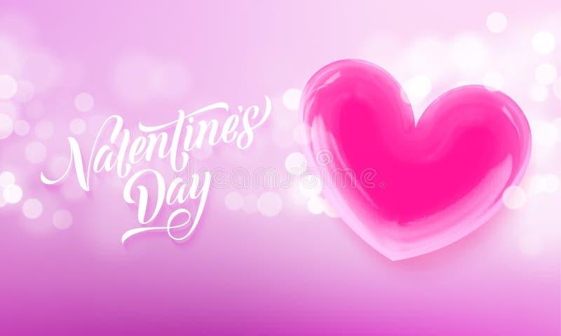 Texto da rotulação do dia de Valentim no coração vermelho do Valentim no fundo claro cor-de-rosa do teste padrão Cartão feliz d d ilustração royalty free