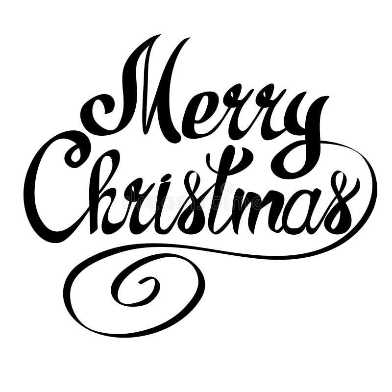 Texto da rotulação do vetor do Feliz Natal Xmas caligráfico ilustração do vetor