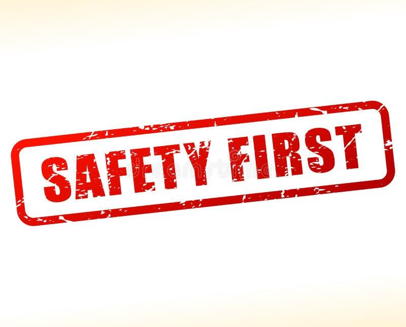 Texto da segurança em primeiro lugar protegido ilustração stock